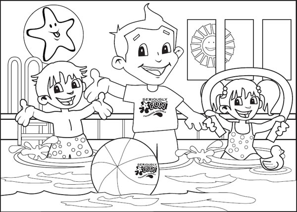 Colouring Pages for Kids Swimming Pool